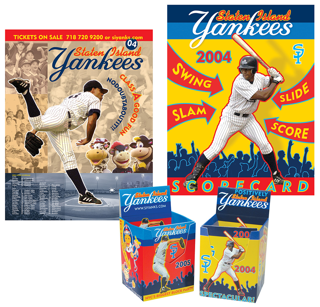 Staten Island Yankees logos, packaging, signage, collateral materials